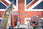 Collage Londre Union Jack (id: 10298) falikép keretezve