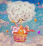 Vicces barátságos állatok egy légballon az égen - illustra (id: 12398) tapéta