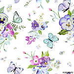 Floral Seamless Pattern with Blooming Flowers and Flying Butterf vászonkép, poszter vagy falikép