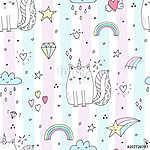 Seamless pattern with hand drawn cute cats unicorn. Cartoon cat vector illustration (id: 19098) tapéta
