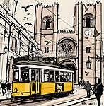 Tipikus villamossal Lisszabonban a Se székesegyház közelében (id: 5098) vászonkép óra