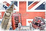 Collage Londres Union Jack évjárat (id: 10299) vászonkép