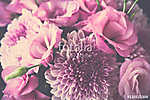 Bouquet of pink flowers closeup, eustoma and chrysanthemum (id: 13999) poszter