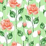 Floral seamless pattern. Watercolor background with roses 5 (id: 14099)