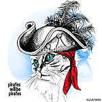 Image cat portrait in a pirate hat and bandana on blue backgroun (id: 14499) vászonkép