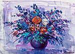 Oil painting flowers. Roses (id: 16099) többrészes vászonkép