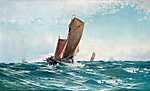 Ludvig Richarde: Halászhajó a hullámokban (1890) (id: 3999) tapéta