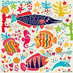 Vektor tapéta hal és tengeri élet (id: 4699) falikép keretezve