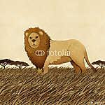 Oroszlán újrahasznosított papír háttérből készült (id: 6199) falikép keretezve