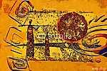 Afrika retro vintage stílusban (id: 7399) falikép keretezve