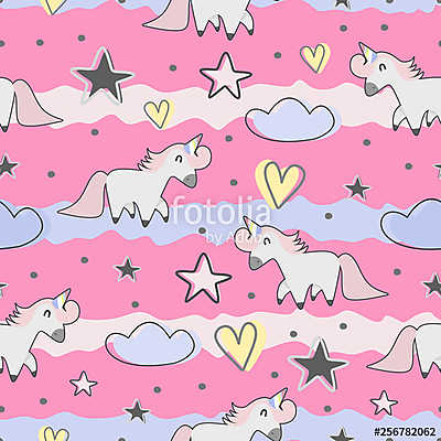 Cute hand drawn unicorn seamless pattern for kids and baby fashion textile print - vászonkép, falikép otthonra és irodába