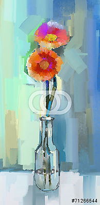 Glass vase with bouquet gerbera flowers.Oil painting, Premium Kollekció
