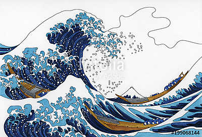 Illustration of adult coloring template, Katsushika Hokusai