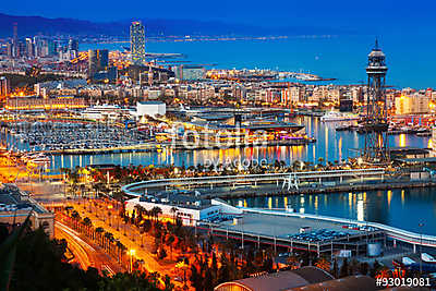 Port in Barcelona during evening. Catalonia,, Premium Kollekció