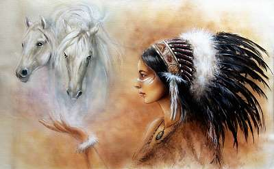 young indian woman wearing feather headdress, with two horse , Premium Kollekció