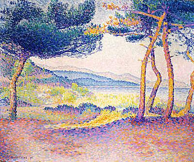 Fenyőfák a  part mentén, Henri-Edmond Cross
