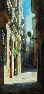 gothic quarter in barcelona, painting by oil on a canvas, illust, Premium Kollekció