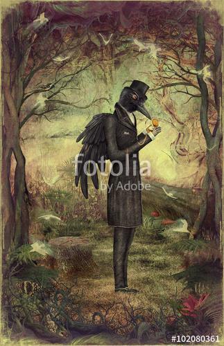 Raven egy sötét erdőben néz az órára, Premium Kollekció