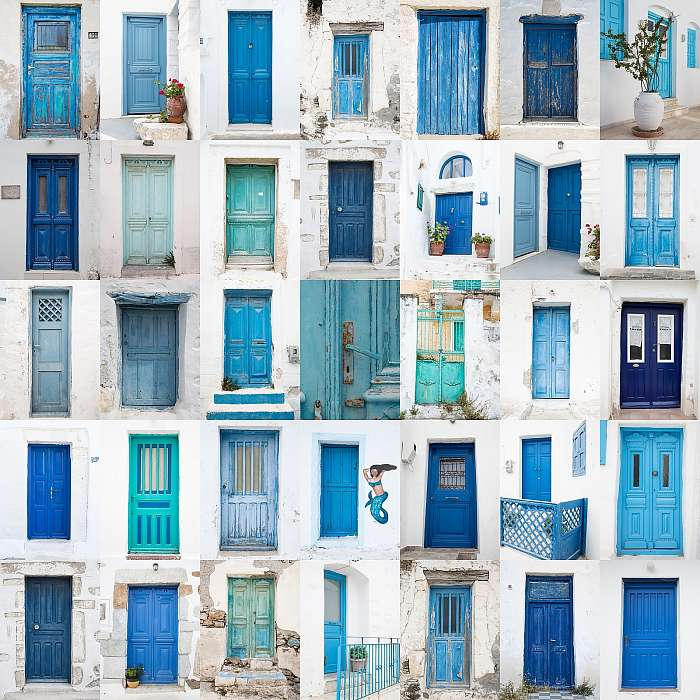 A görög ajtók kollázsai: kék, türkiz, zöld, Premium Kollekció