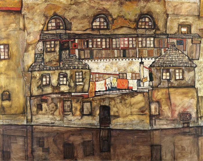 Házak a folyó partján, Egon Schiele