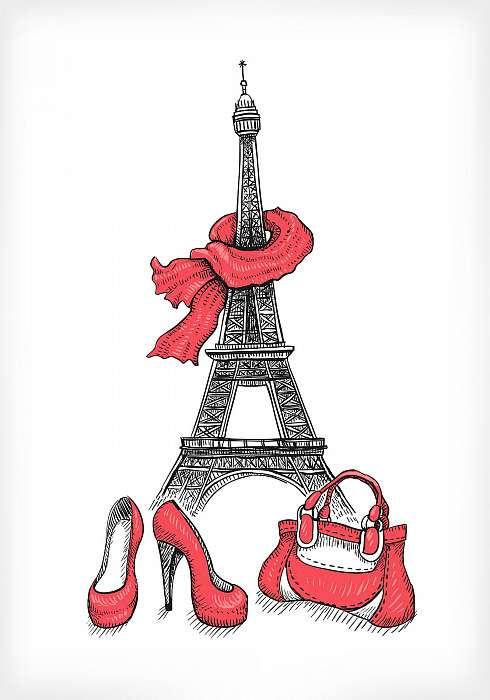 Eiffel-torony, cipők és kézitáska, Premium Kollekció