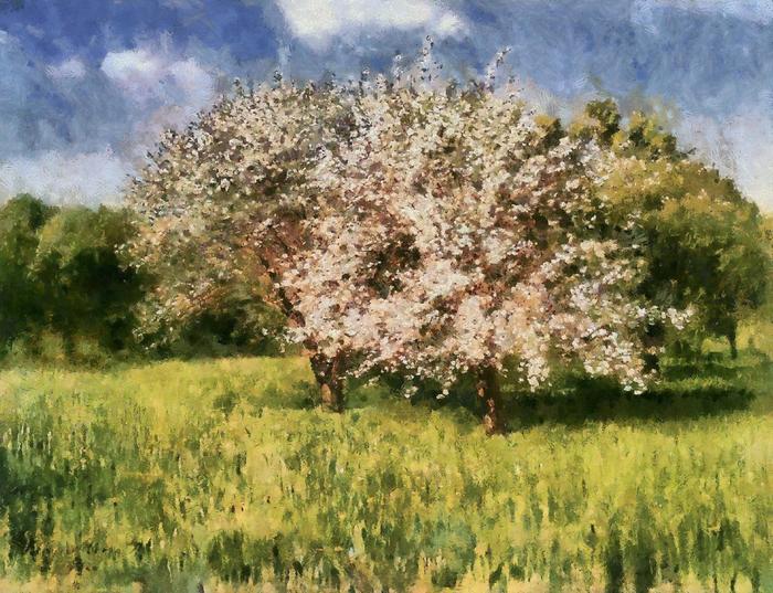 Virágzó almafák (átdolgozott, nem eredeti verzió), Szinyei Merse Pál