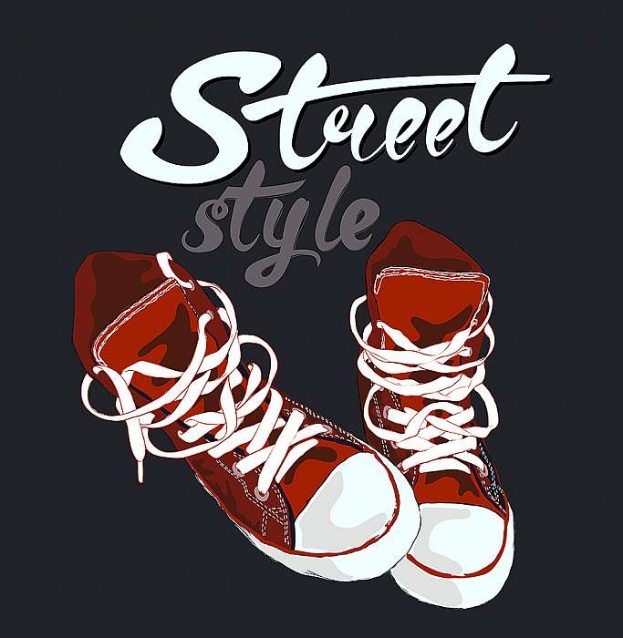 A cipők grafikai kialakítása. Kézi levélvektor, Premium Kollekció