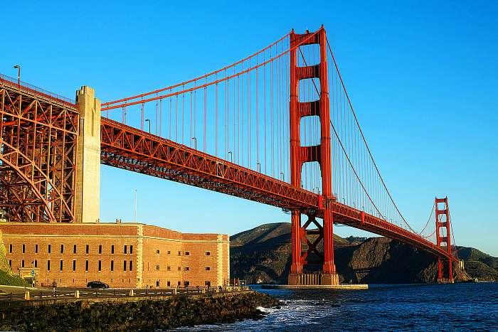 A Golden Gate híd, amelyet San Francisco-ban Kaliforniában vette, Premium Kollekció