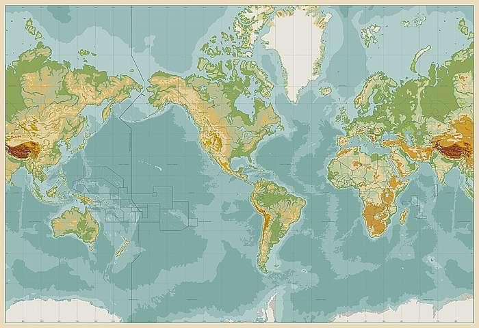 Amerika központú fizikai világtérkép. Vintage szín. Nincs szöveg, Premium Kollekció