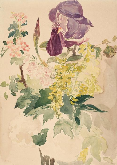 Virág kompozició, írisszel, aranyesővel és gólyaorral (geranium), Edouard Manet