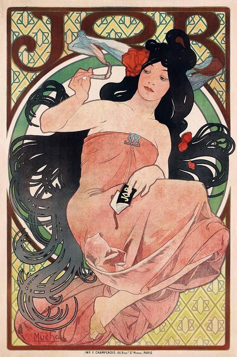 JOB, cigaretta papír, Alfons Mucha