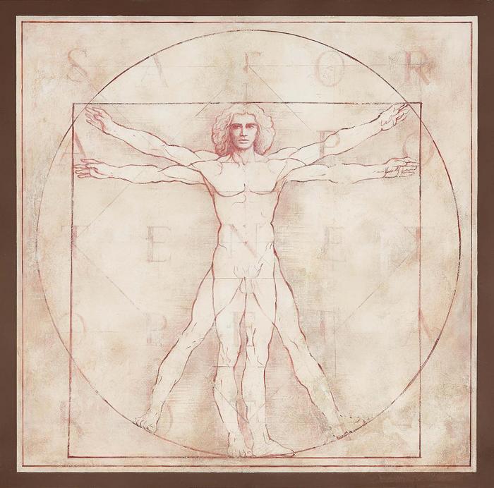 Vitruvian Man, 1490 (átdolgozás) - Fresco Version, Leonardo da Vinci