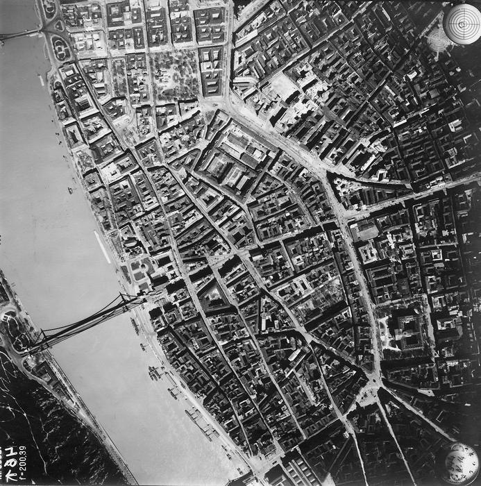 Budapest, légifotó, a Belváros és környéke (1944), FORTEPAN