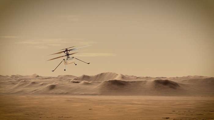 Ingenuity Mars Helikopter repülés közben (Illusztráció), Fotóművészek