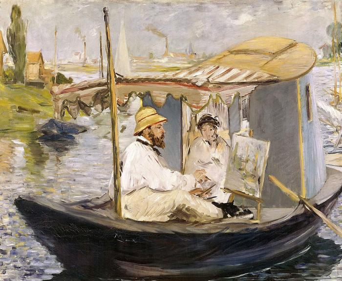 Claude Monet fest a műtermi csónakjában, Edouard Manet