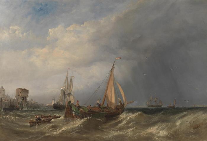 Egy holland bárka kifut a rotterdami kikötőből,