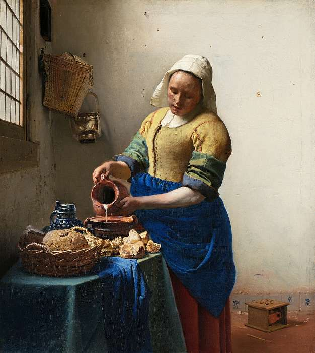 Tejet öntő nő , Jan Vermeer