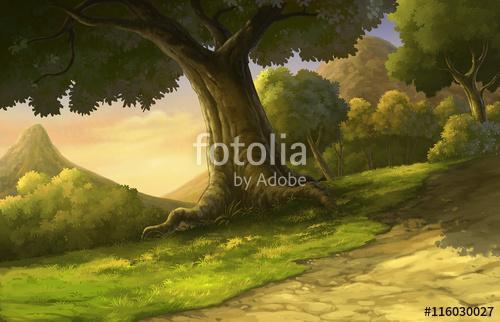 illusztrálja az erdőt és a naplementét szép, Premium Kollekció