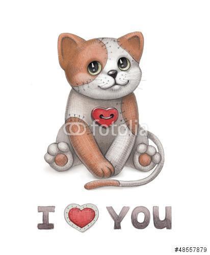 Aranyos macska játék illusztráció. Tökéletes üdvözlőlapra, Premium Kollekció