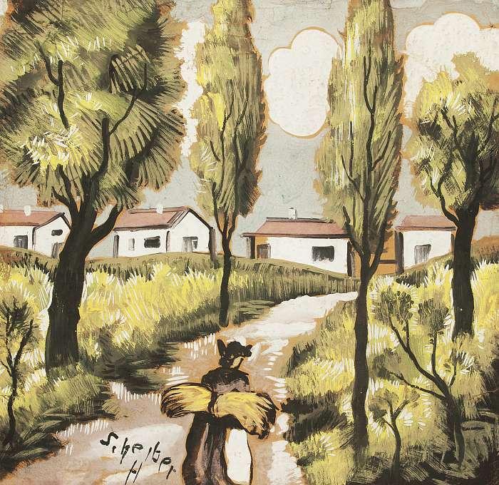 Egy falu látképe, Scheiber Hugó