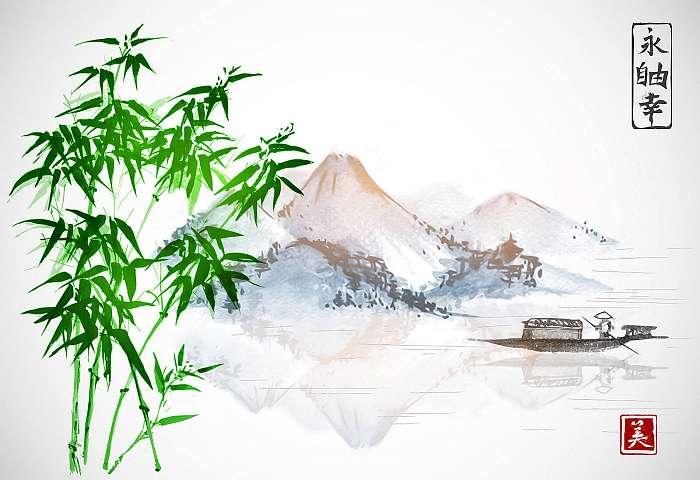 Bambusz, halászhajó és sziget hegyekkel a fehér backgrou-n, Premium Kollekció