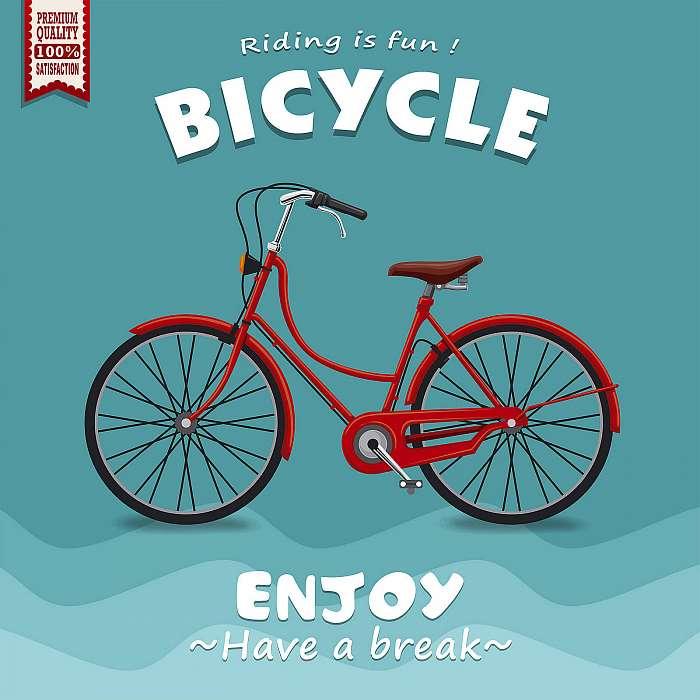 Vintage kerékpár retro plakát - kék, Premium Kollekció