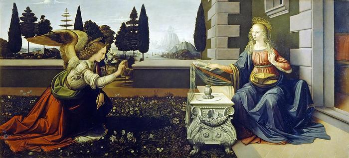 Angyali üdvözlet, Leonardo da Vinci