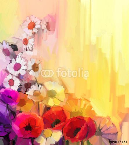 A fehér, a sárga és a vörös színű virágok csendéletei. Olajfestm, Premium Kollekció