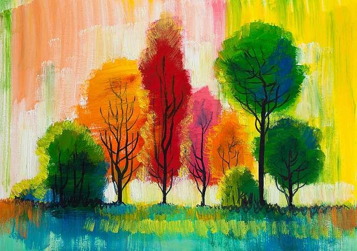 Trees, oil painting, artistic background, Premium Kollekció