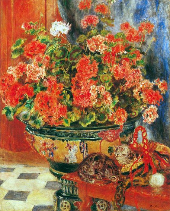 Muskátli és macskák, Pierre Auguste Renoir