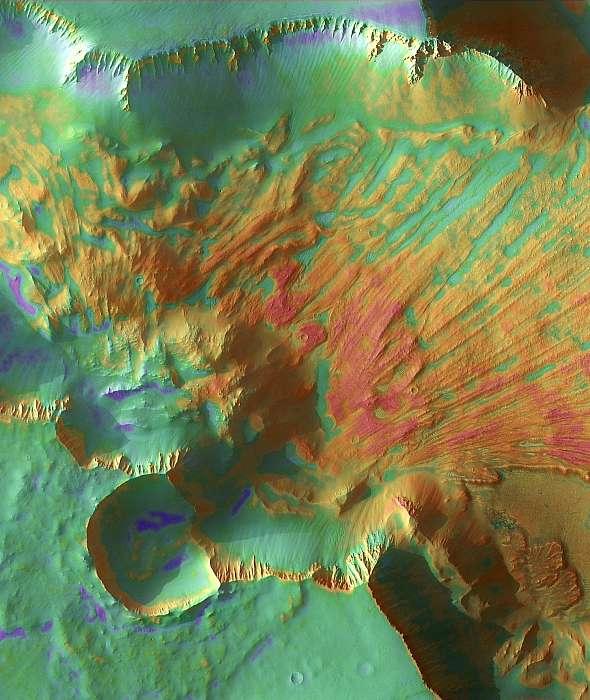 Noctis földcsuszamlás a Marson (színezett), Fotóművészek