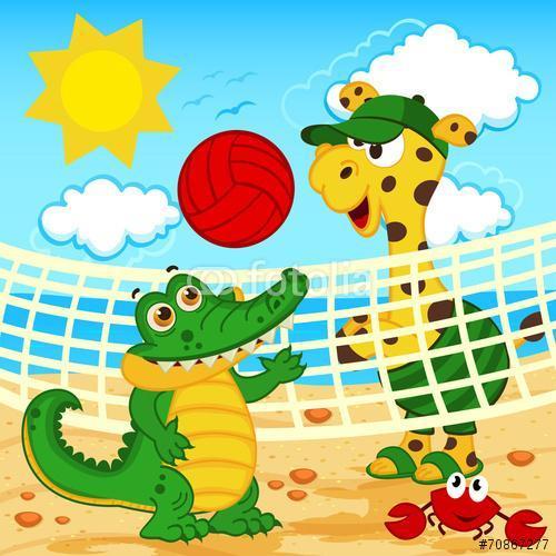 zsiráf krokodil játszik a strandon röplabda - vektor, eps, Premium Kollekció