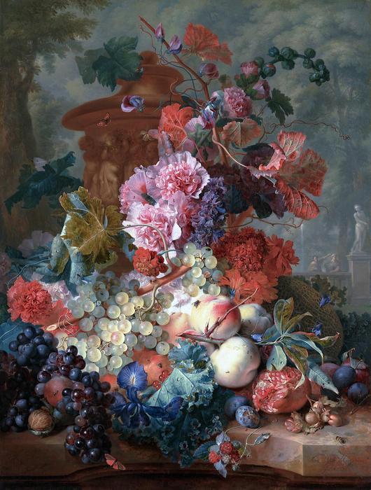 Virágcsokor és gyümölcsök - színverzió 1., Jan van Huysum