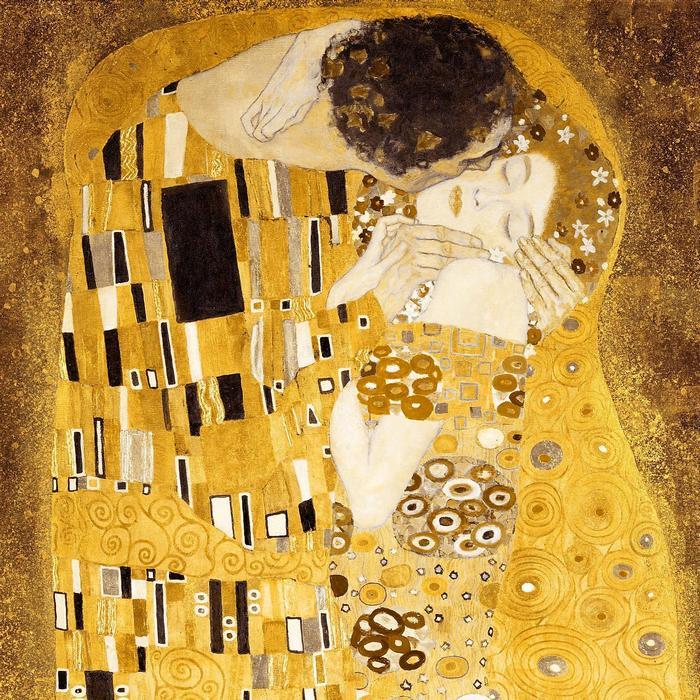 A csók (részlet) - bicolor színverzió, Gustav Klimt